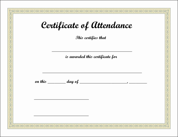 Certificate Of attendance Template Beautiful Certificate Of attendance Template Excel Xlts