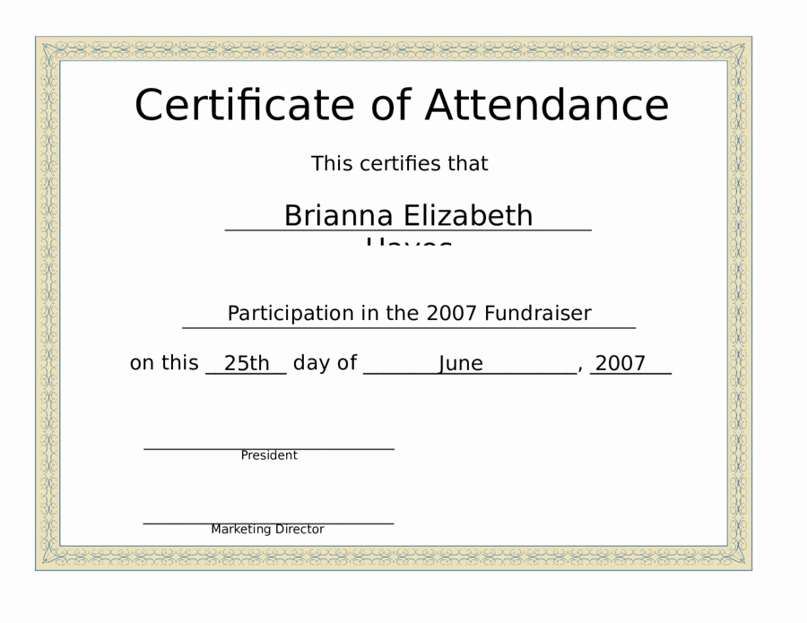 Certificate Of attendance Template Elegant 2019 Certificate Of attendance Fillable Printable Pdf