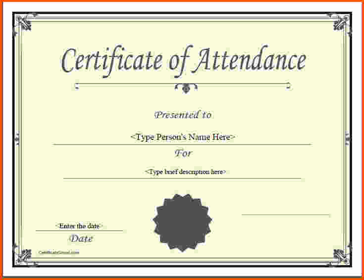 Certificate Of attendance Template Fresh 5 Certificate Of attendance Template