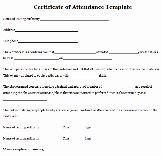 Certificate Of attendance Template Fresh Certificate Of attendance Template