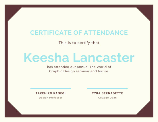 Certificate Of attendance Template Fresh Customize 23 attendance Certificate Templates Online Canva