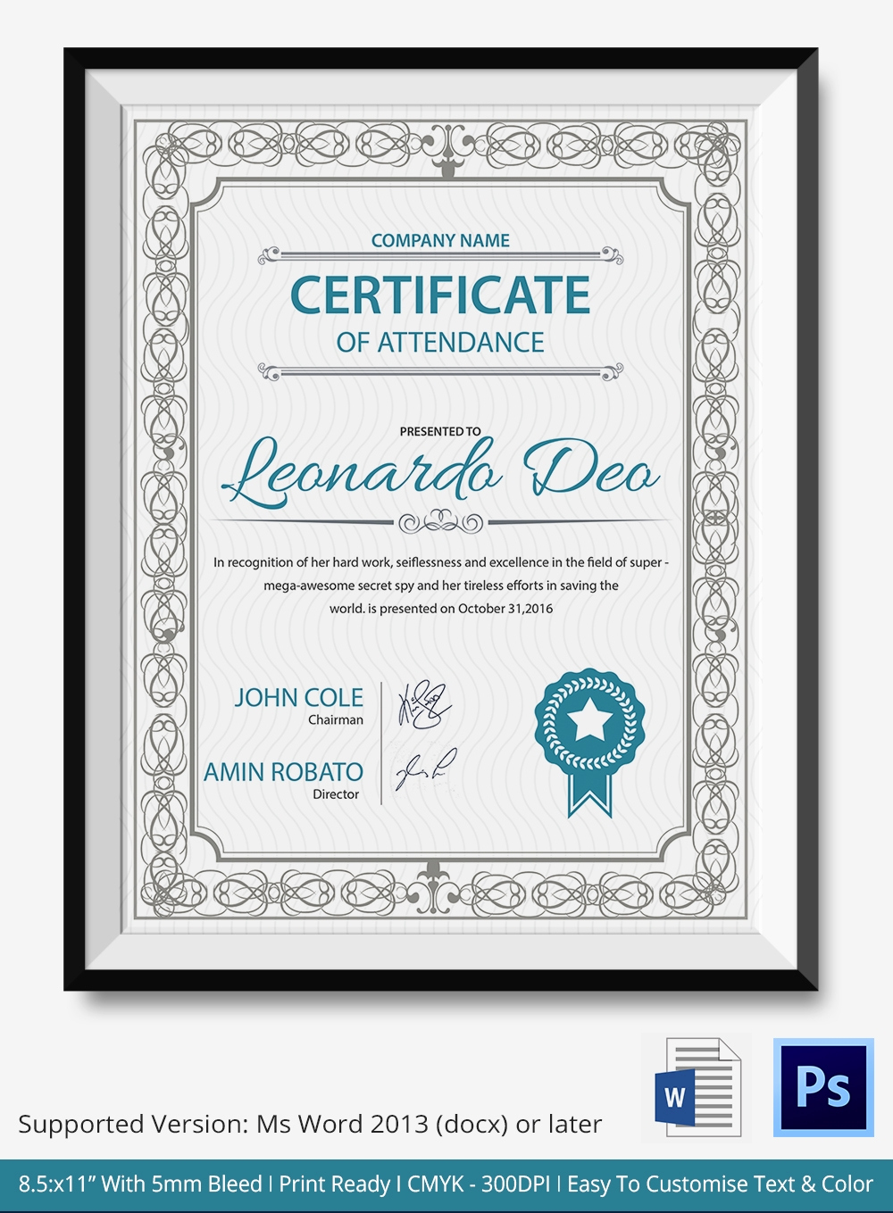 Certificate Of attendance Template Fresh Word Certificate Template 31 Free Download Samples