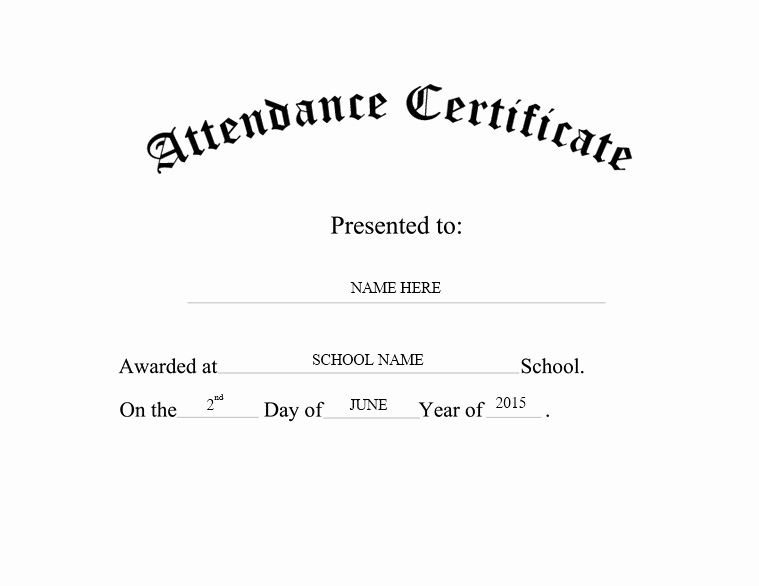 Certificate Of attendance Template Inspirational 13 Free Sample Perfect attendance Certificate Templates