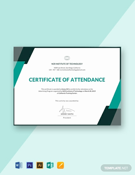 Certificate Of attendance Template Lovely 11 Free attendance Certificate Templates [download Ready