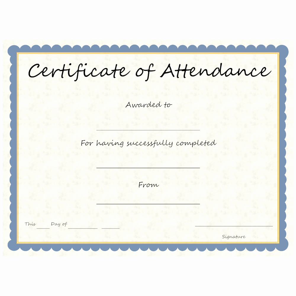 Certificate Of attendance Template Luxury Certificate Of attendance