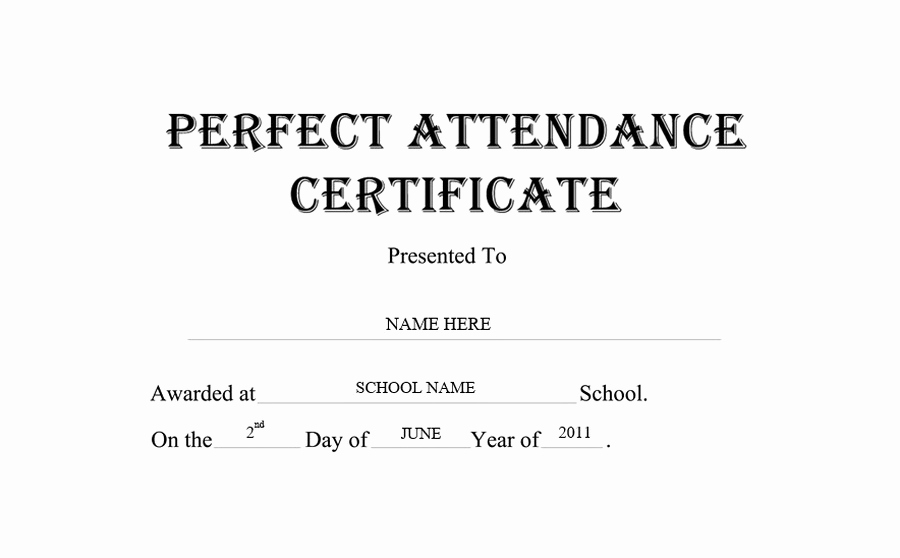 Certificate Of attendance Template Unique Perfect attendance Certificate Free Templates Clip Art