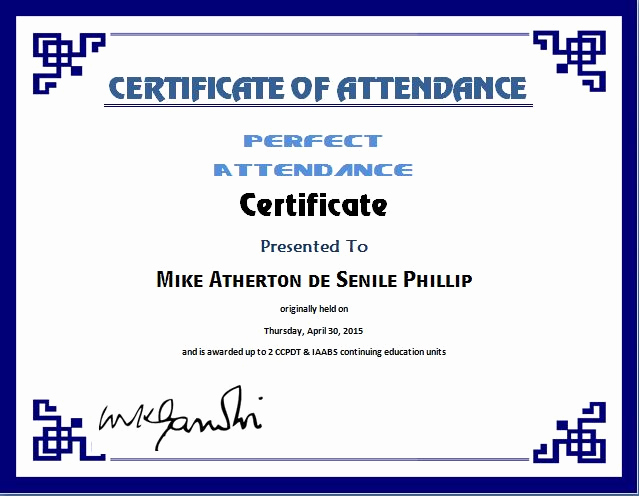 Certificate Of attendance Template Unique Perfect attendance Certificate Template
