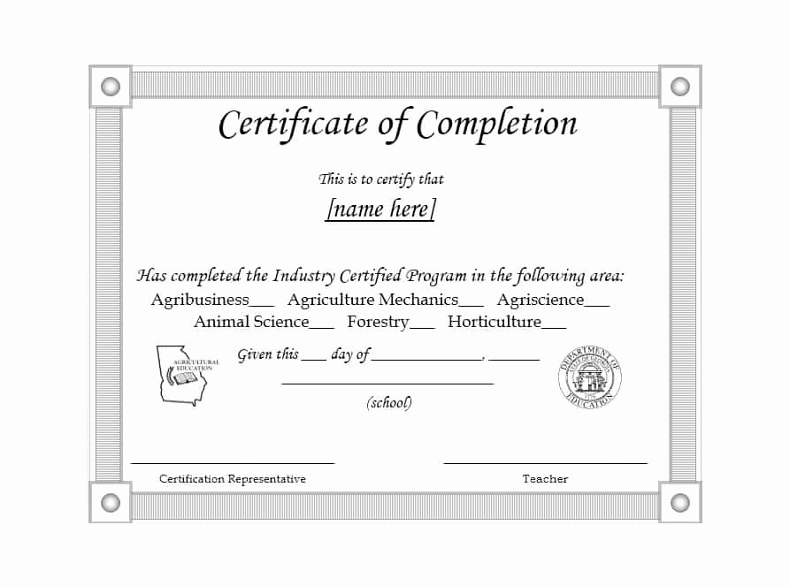 Certificate Of Completion Template Free Beautiful 40 Fantastic Certificate Of Pletion Templates [word