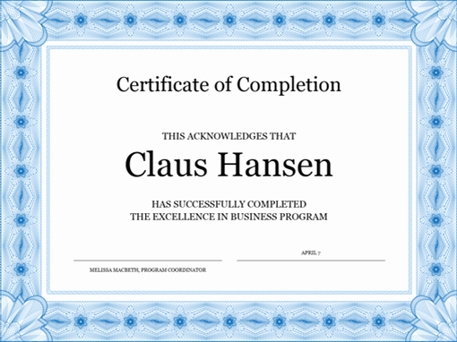 Certificate Of Completion Template Free Beautiful Certificates Fice