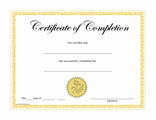 Certificate Of Completion Template Free Beautiful Free Printable Certificate Of Achievement Template
