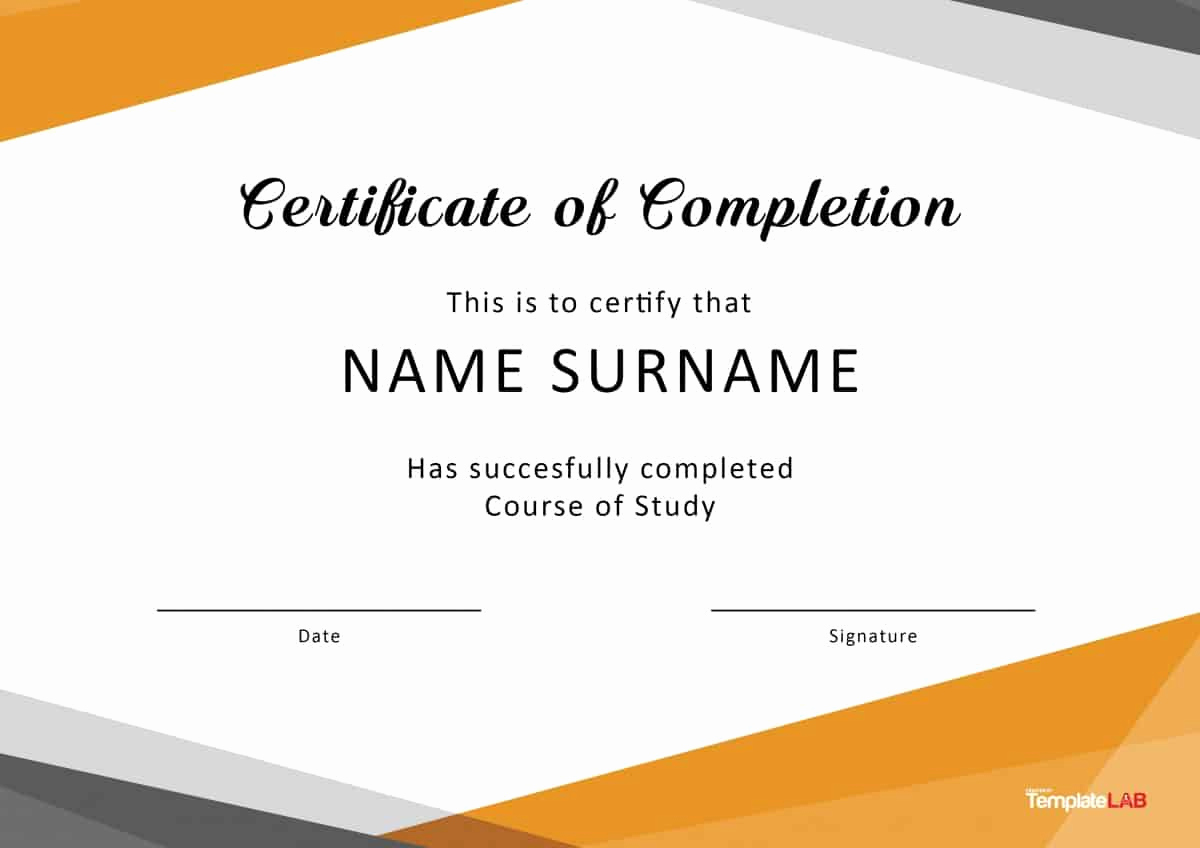 Certificate Of Completion Template Free Best Of 40 Fantastic Certificate Of Pletion Templates [word