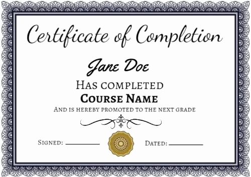Certificate Of Completion Template Free Best Of Certificate Pletion Templates