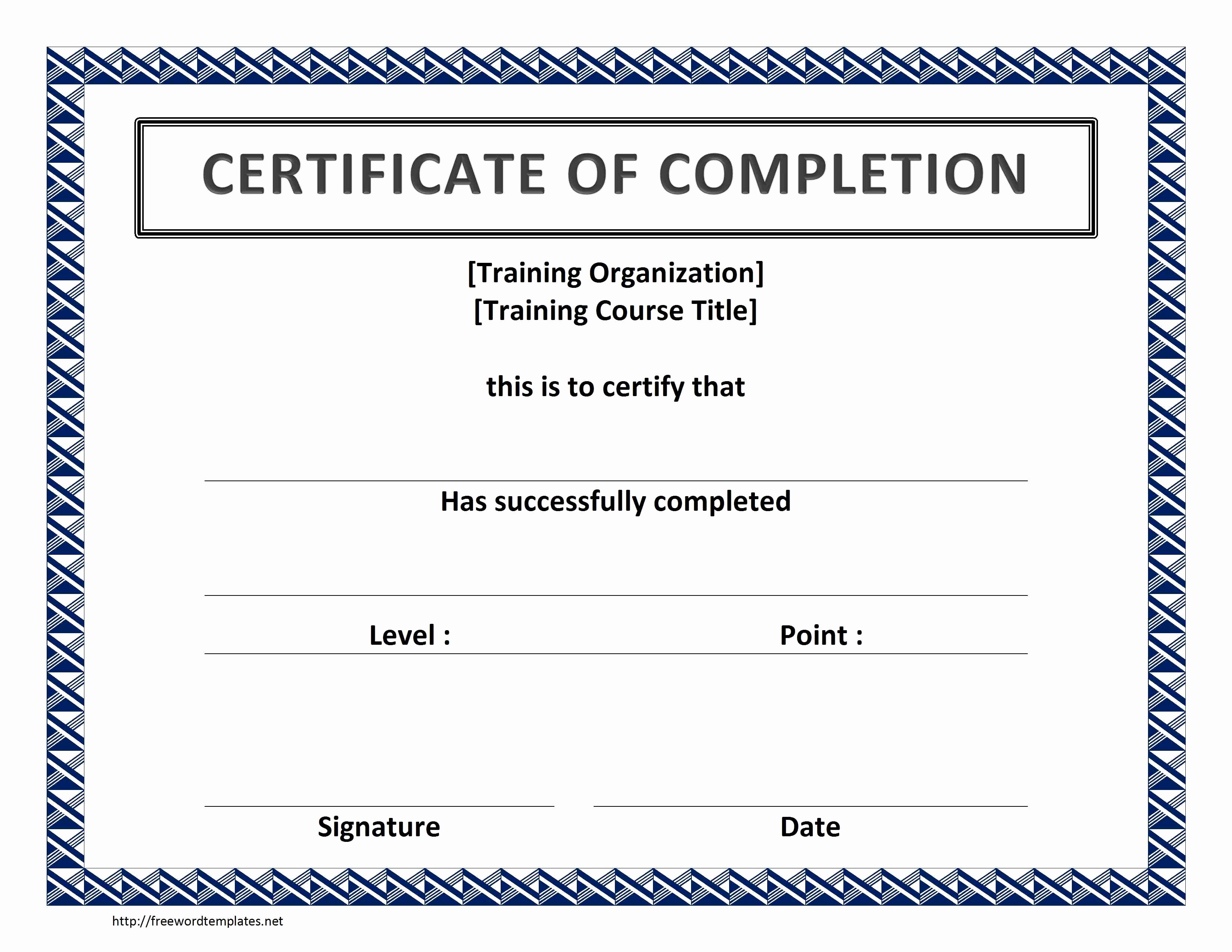 Certificate Of Completion Template Free Best Of Training Certificate Template