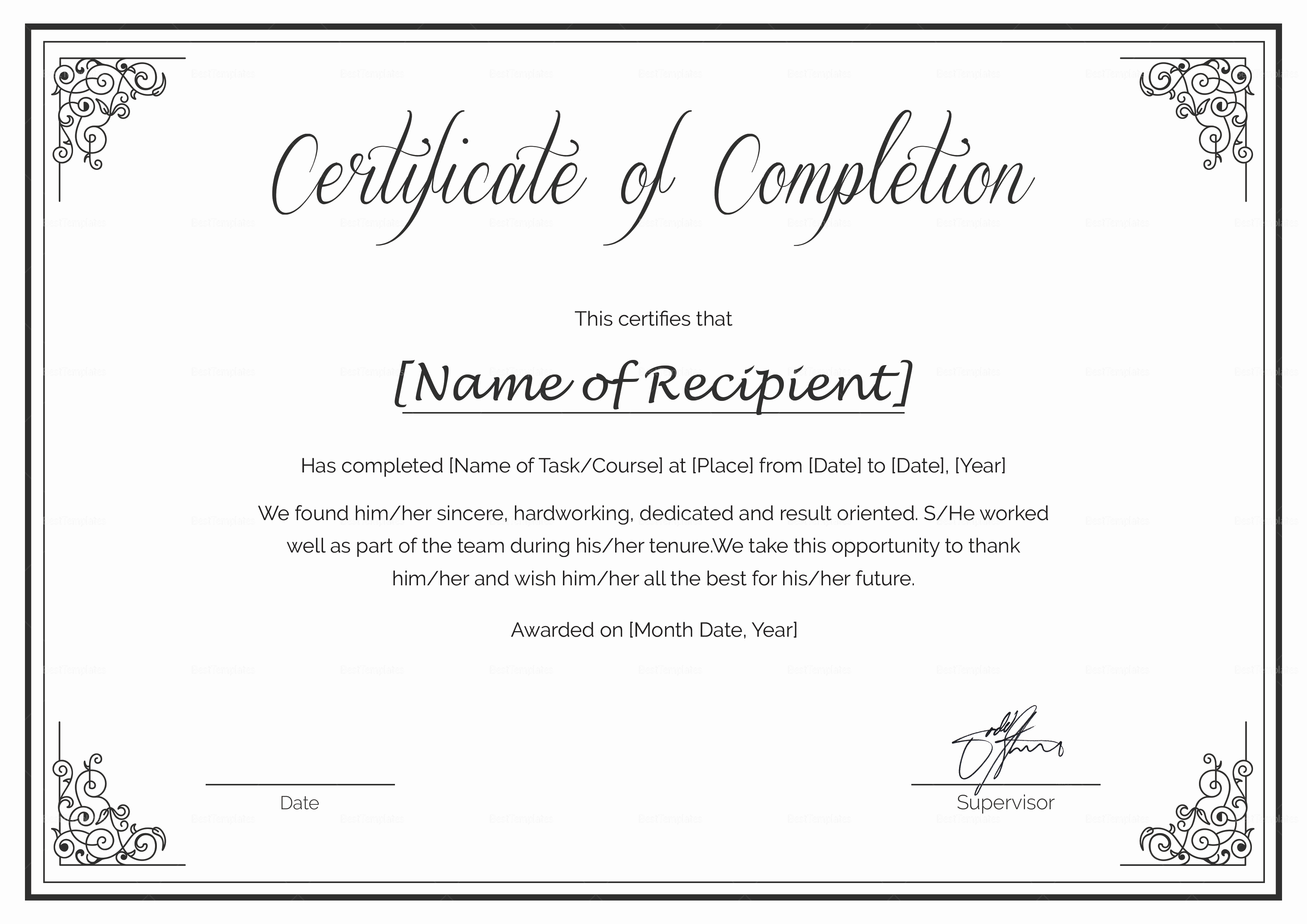 Certificate Of Completion Template Free Elegant Custom Made Course Pletion Certificate Design Template