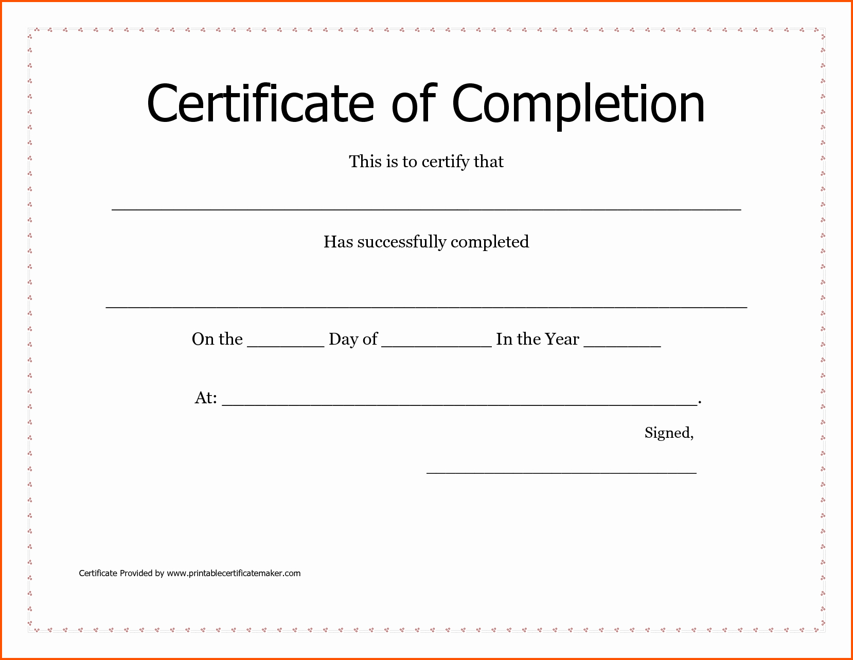 Certificate Of Completion Template Free Fresh Blank Certificates Pletion Mughals