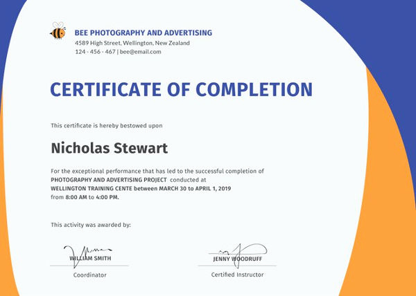 Certificate Of Completion Template Free Inspirational Certificate Of Pletion 25 Free Word Pdf Psd