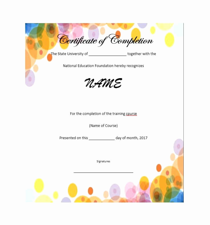 Certificate Of Completion Template Free New 40 Fantastic Certificate Of Pletion Templates [word