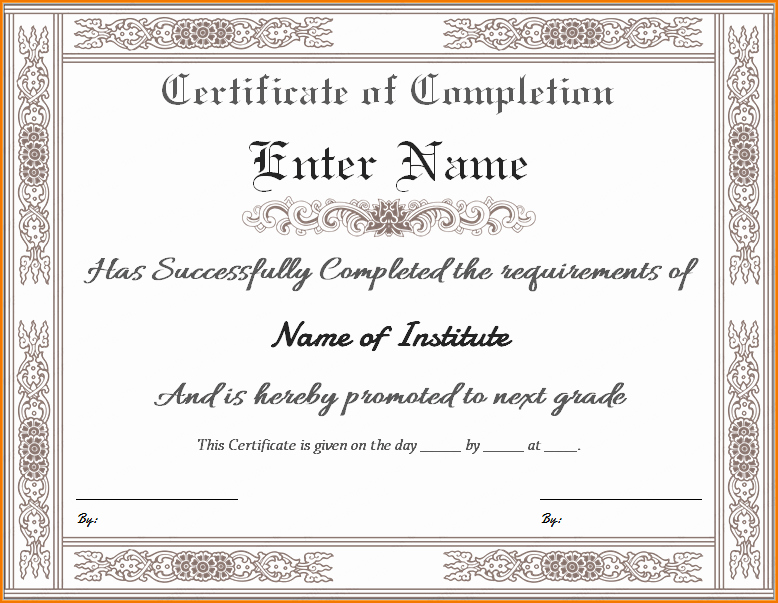 Certificate Of Completion Template Free New 5 Certificate Of Pletion Templates