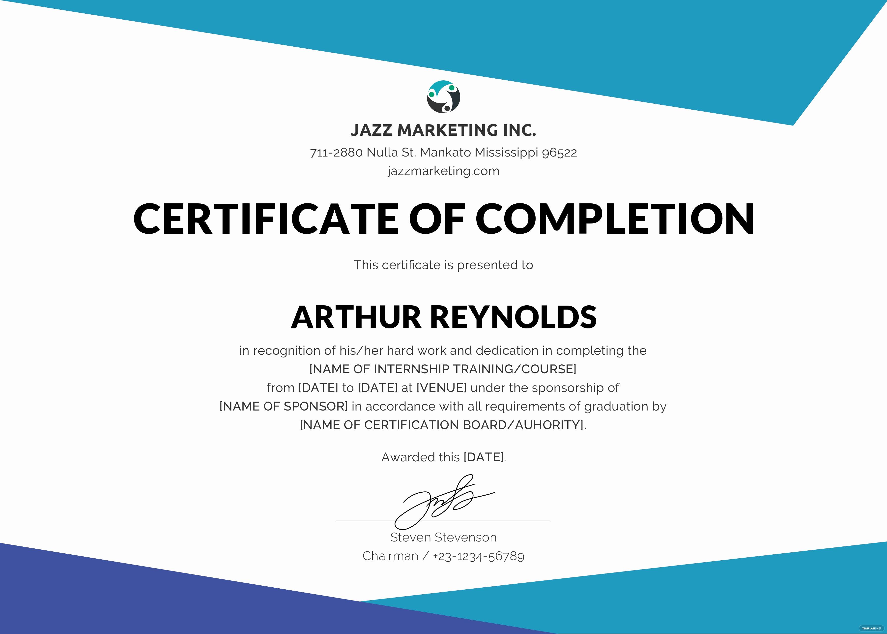course pletion certificate