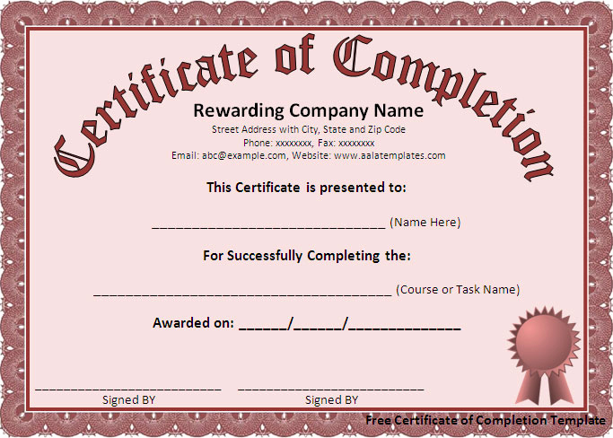 Certificate Of Completion Template Free Unique Certificate Templates