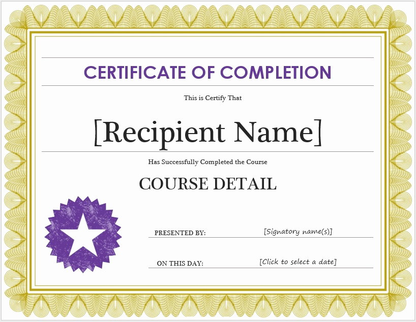 Certificate Of Completion Template Word Awesome Free Certificate Of Pletion Template – Microsoft Word