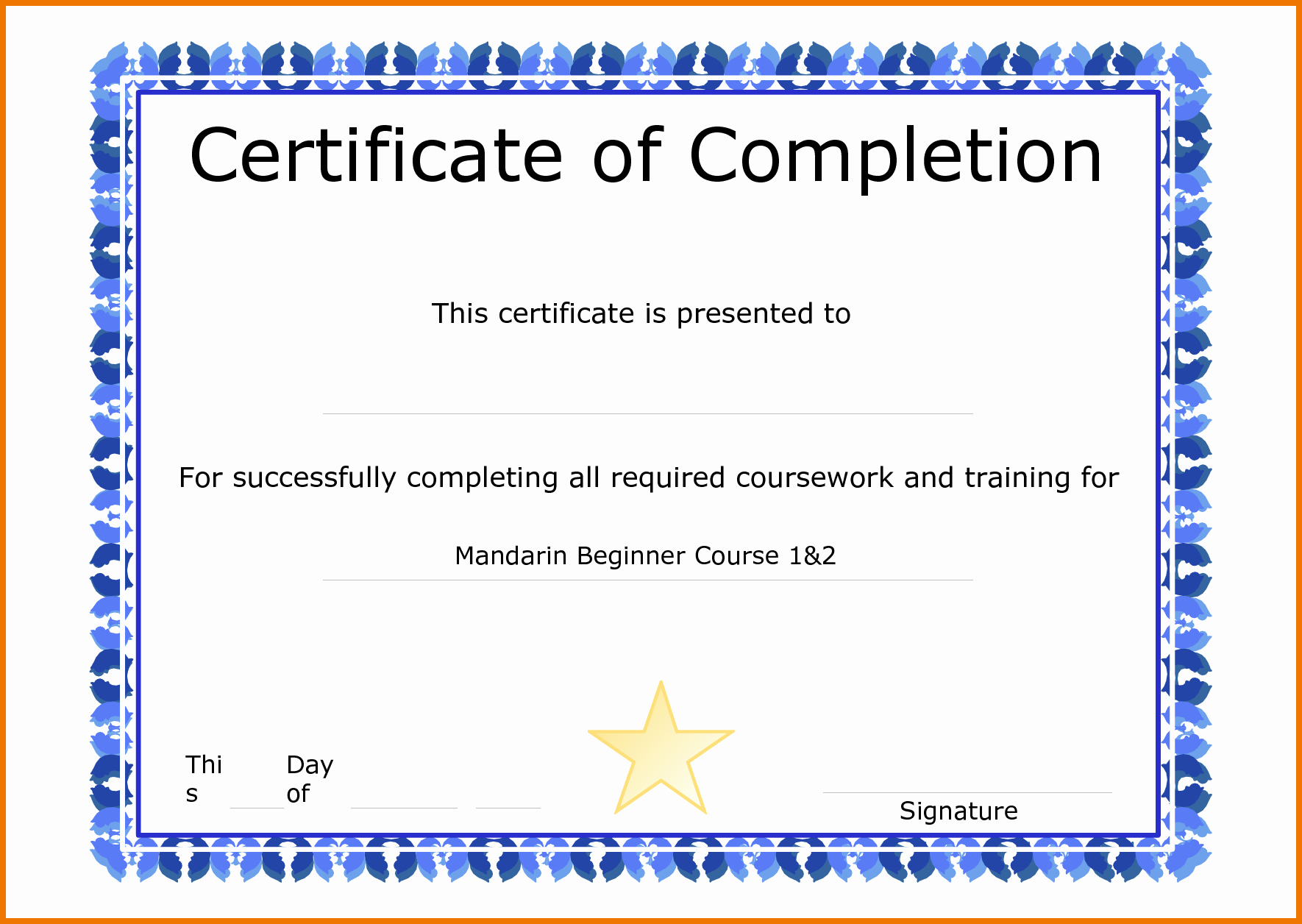 Certificate Of Completion Template Word Awesome Sample Certificate Pletion