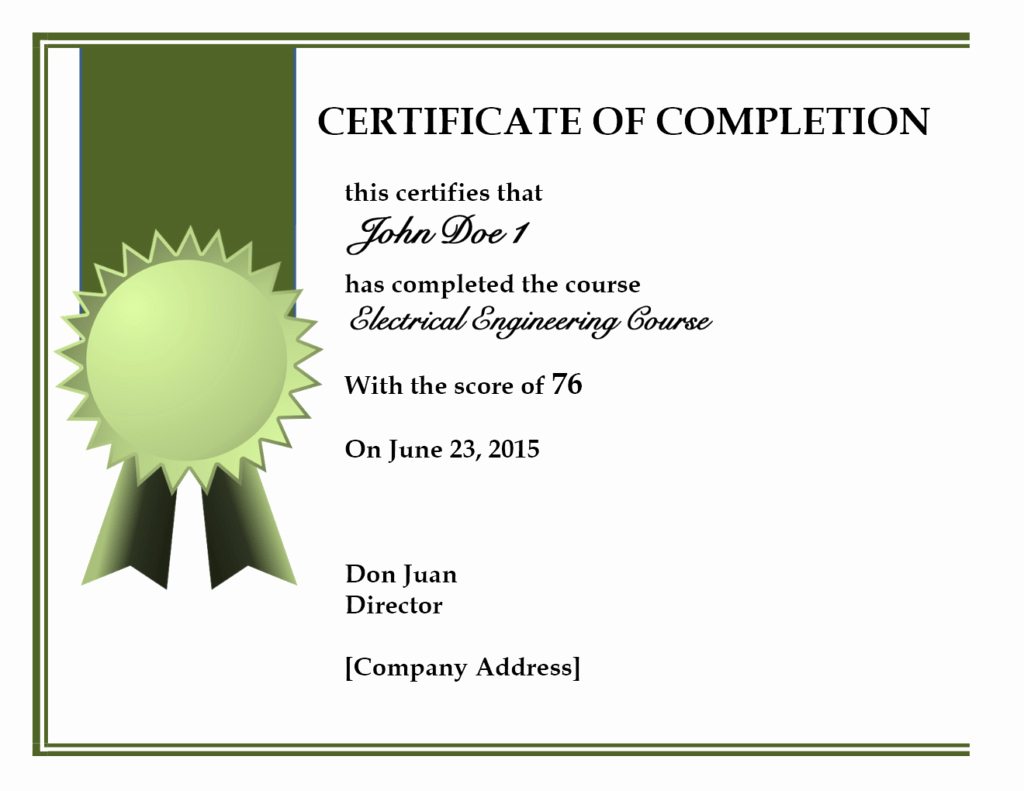 Certificate Of Completion Template Word Elegant 10 Certificate Of Pletion Templates Word Excel Pdf