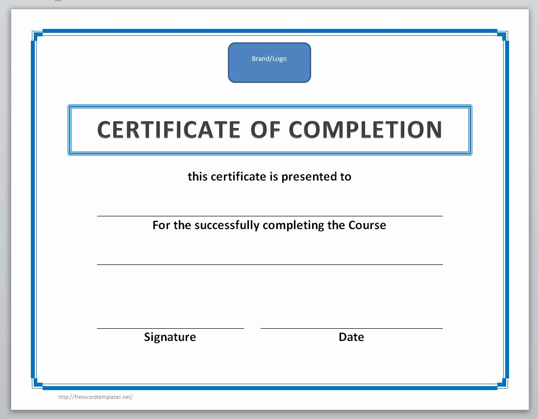 Certificate Of Completion Template Word Fresh 13 Free Certificate Templates for Word