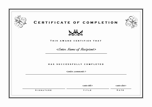 Certificate Of Completion Template Word Lovely 20 Free Certificate Of Pletion Template [word Excel Pdf]