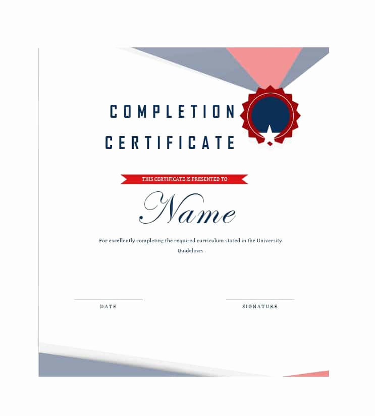 Certificate Of Completion Template Word Lovely 40 Fantastic Certificate Of Pletion Templates [word