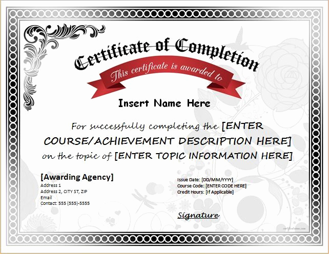 Certificate Of Completion Template Word Lovely Pin by Alizbath Adam On Certificates