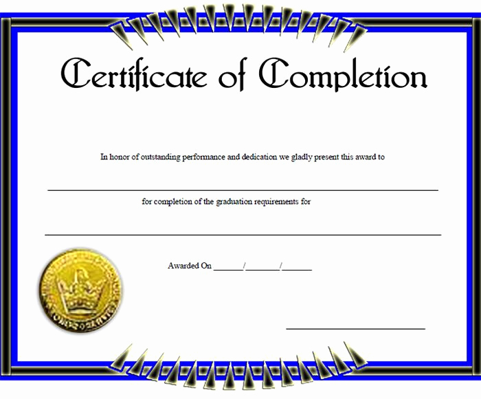 Certificate Of Completion Template Word Luxury Certificate Of Pletion Template – 31 Free Word Pdf