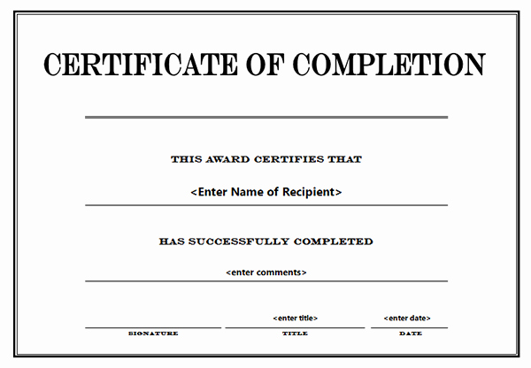 Certificate Of Completion Template Word Luxury Printable Certificates Of Pletion