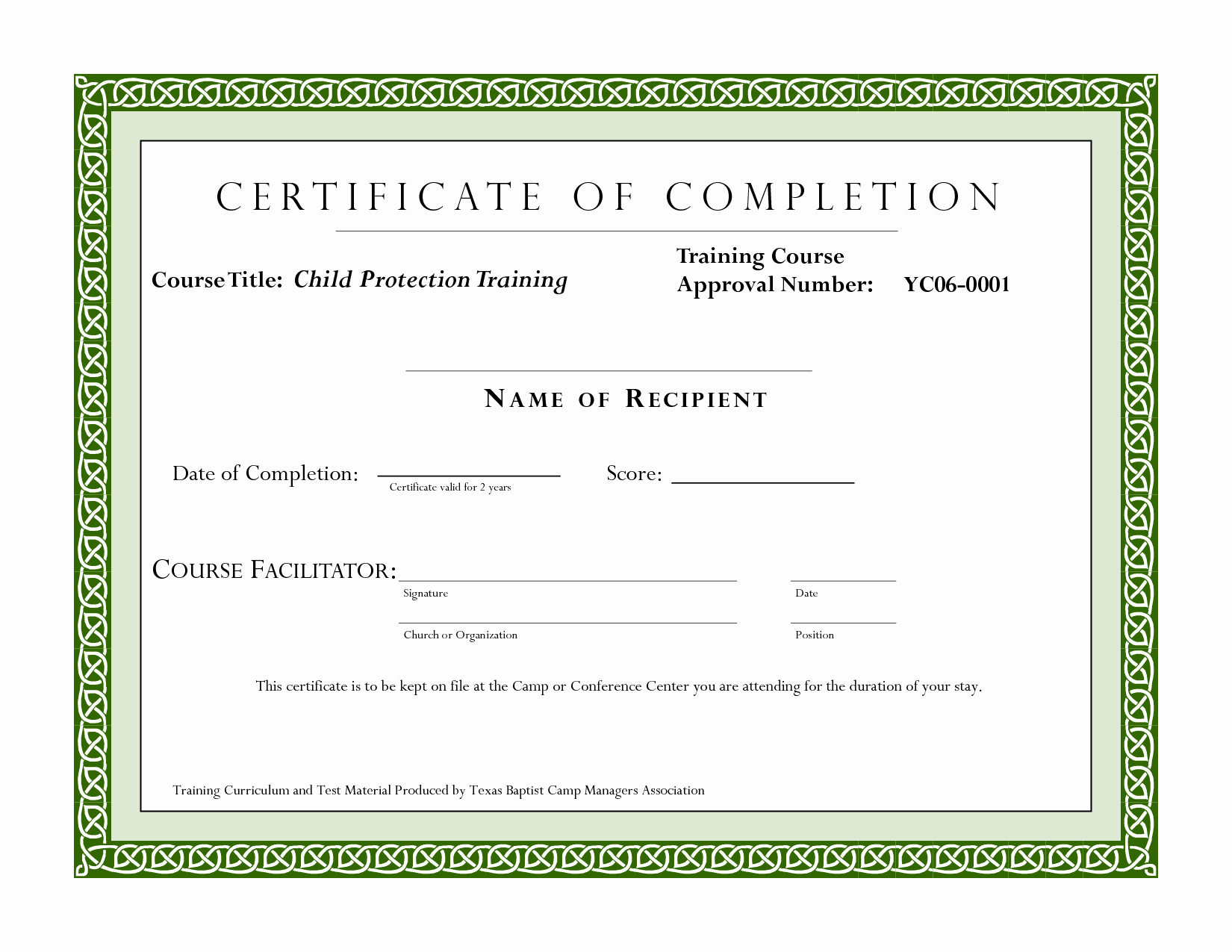 Certificate Of Completion Template Word New Course Pletion Certificate Template