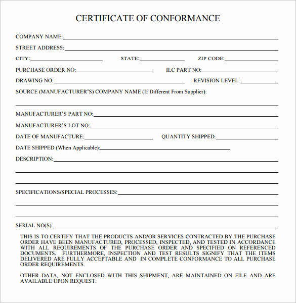 Certificate Of Compliance Template Beautiful 20 Certificate Of Conformance Templates
