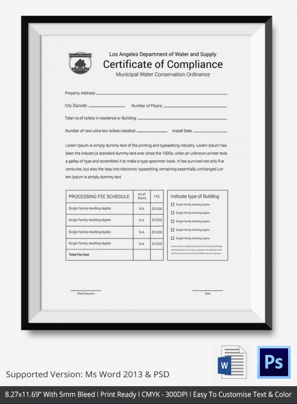 Certificate Of Compliance Template Inspirational Certificate Of Pliance Template – 12 Word Pdf Psd