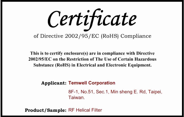 Certificate Of Compliance Template Inspirational Temwell Corporation