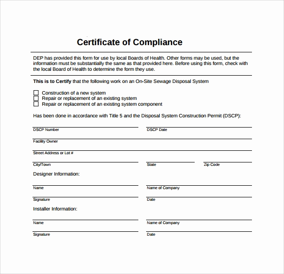 Certificate Of Compliance Template Unique Sample Certificate Of Pliance 16 Documents In Pdf
