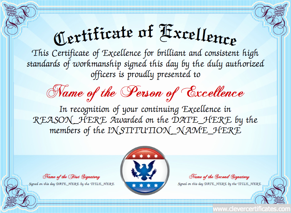 Certificate Of Excellence Template Awesome Certificate Of Excellence Free Certificate Templates for