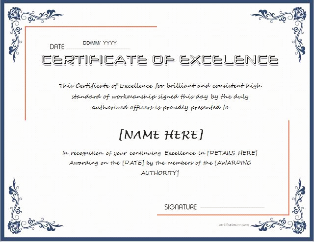Certificate Of Excellence Template Beautiful 133 Best Certificates Images On Pinterest
