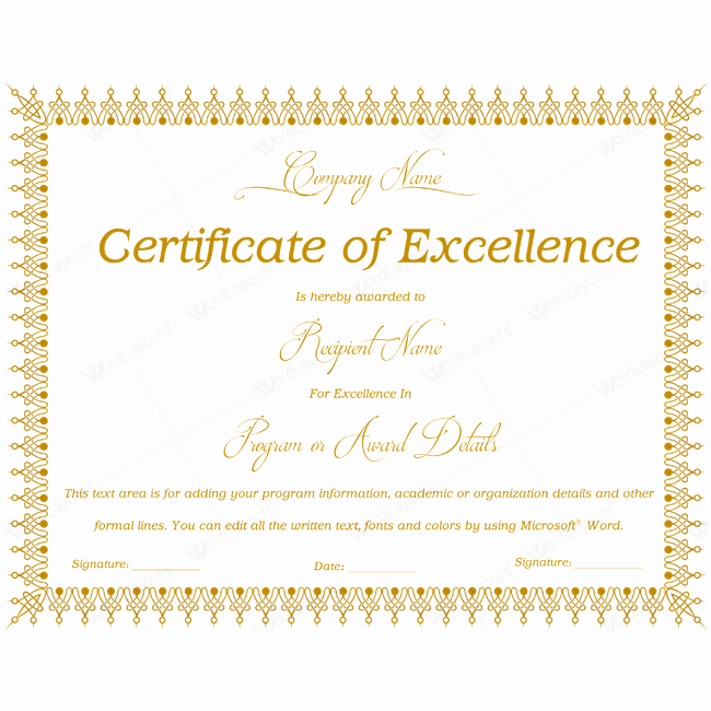 Certificate Of Excellence Template Beautiful 89 Elegant Award Certificates for Business and School events