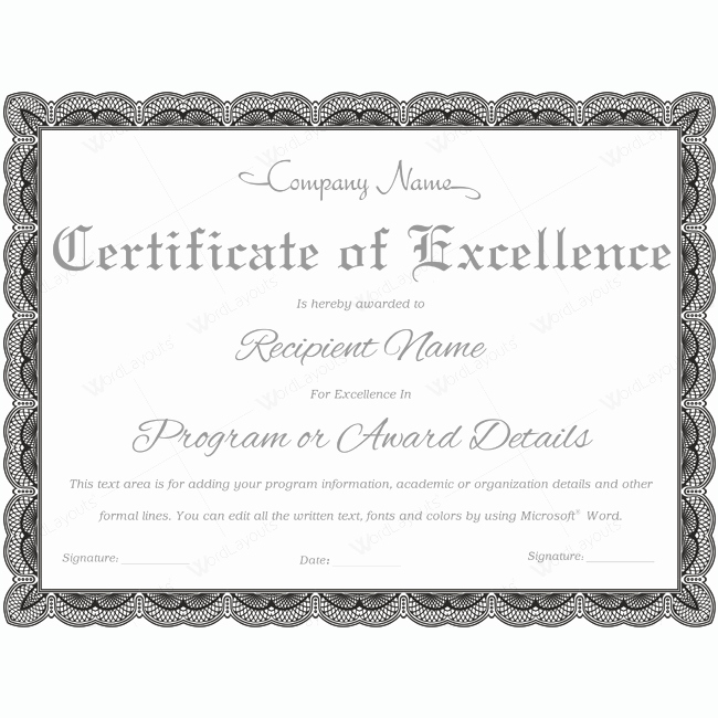 Certificate Of Excellence Template Beautiful Certificate Excellence 08 Word Layouts