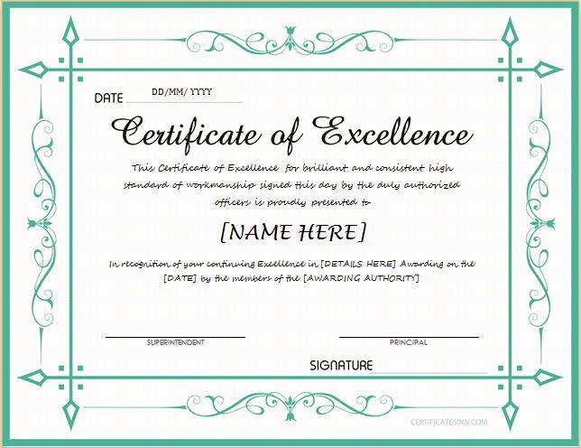 Certificate Of Excellence Template Beautiful Pin by Alizbath Adam On Certificates