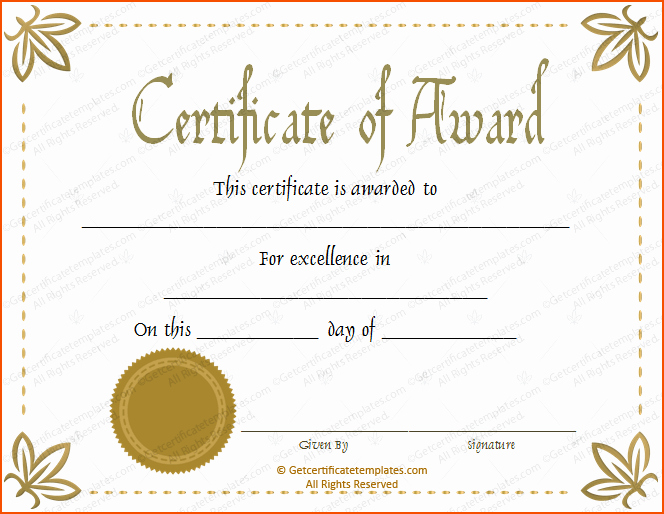 Certificate Of Excellence Template Best Of 8 Awards Certificate Template Bookletemplate