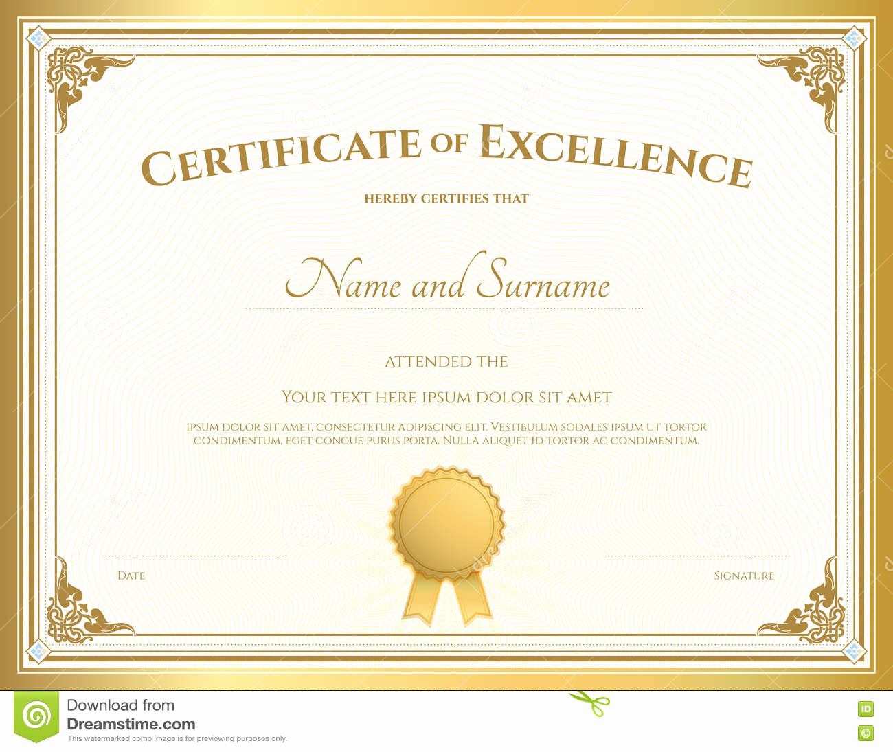 Certificate Of Excellence Template Best Of Certificate Excellence Template with Gold Border Stock
