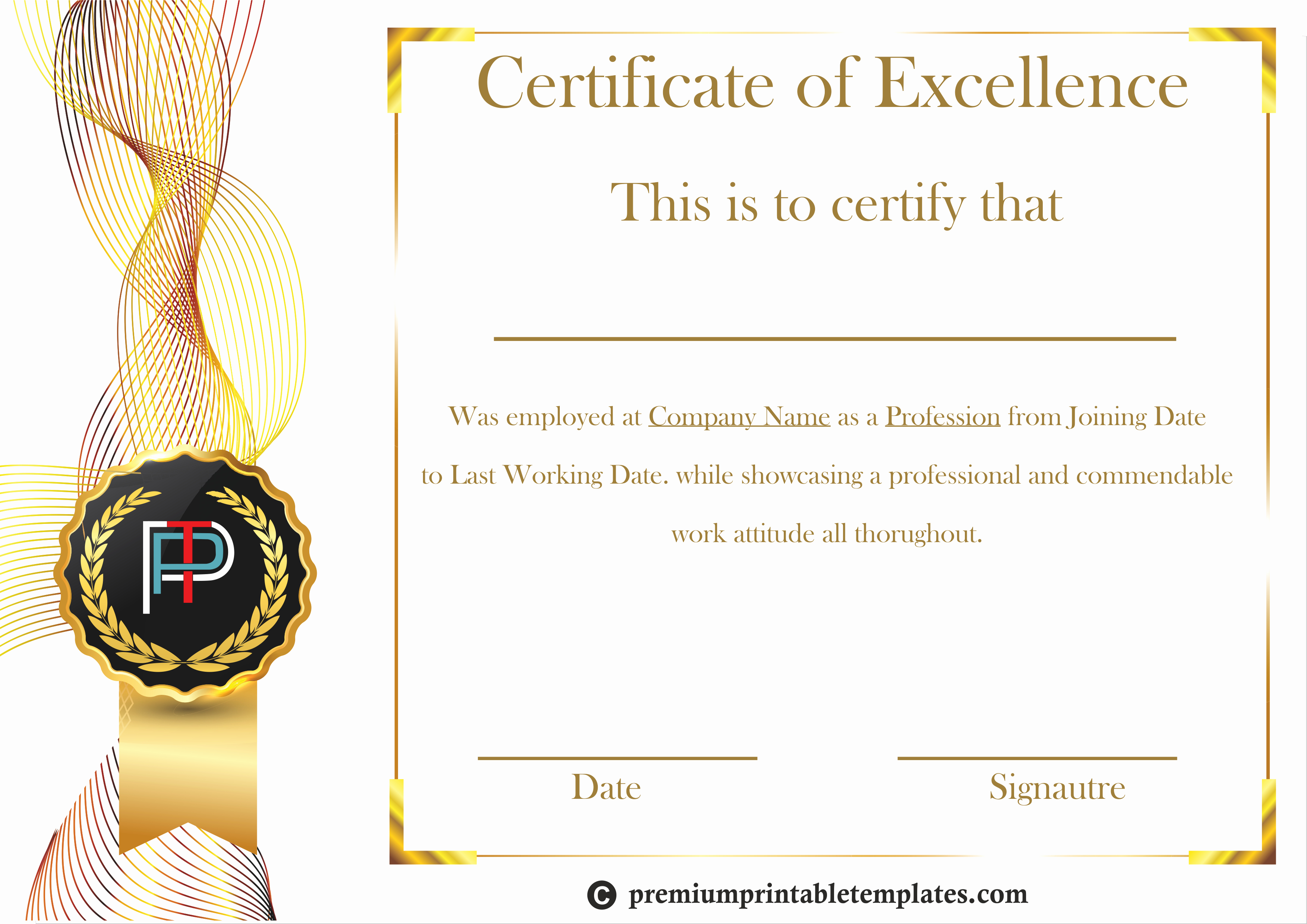 Certificate Of Excellence Template Best Of Certificate Of Excellence Template – Premium Printable
