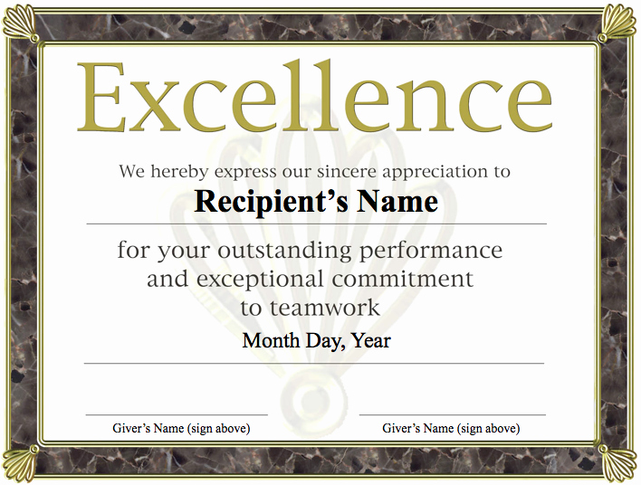 Certificate Of Excellence Template Elegant Free Printable Award Certificate Template