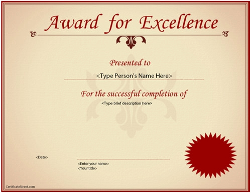Certificate Of Excellence Template Fresh 37 Best Award Certificate Templates Word Psd Ai Eps