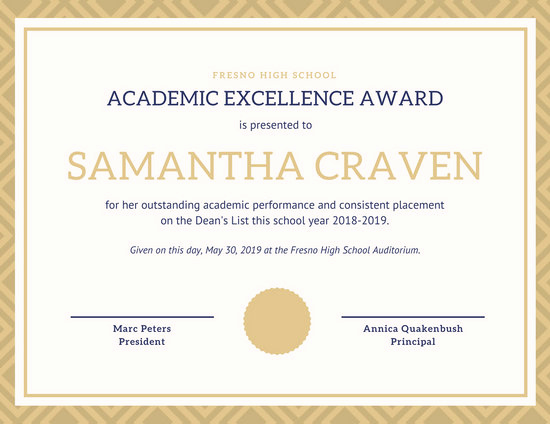Certificate Of Excellence Template Lovely Academic Excellence Certificate Templates by Canva