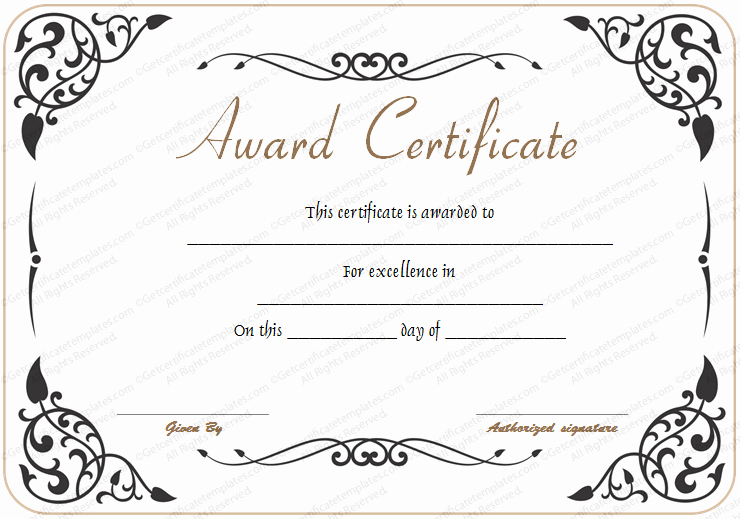 Certificate Of Excellence Template Lovely Award Of Excellence Template Get Certificate Templates